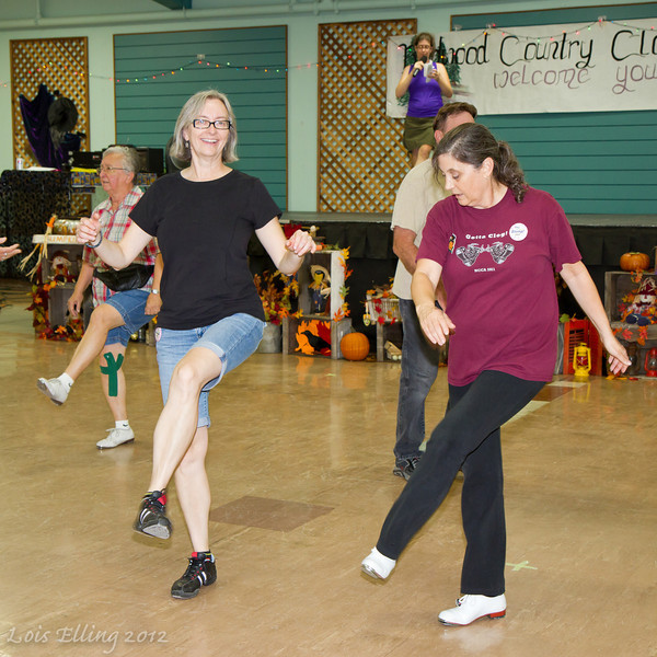 Sheila and Carol dancing at Late Harvest Stomp, 2012.