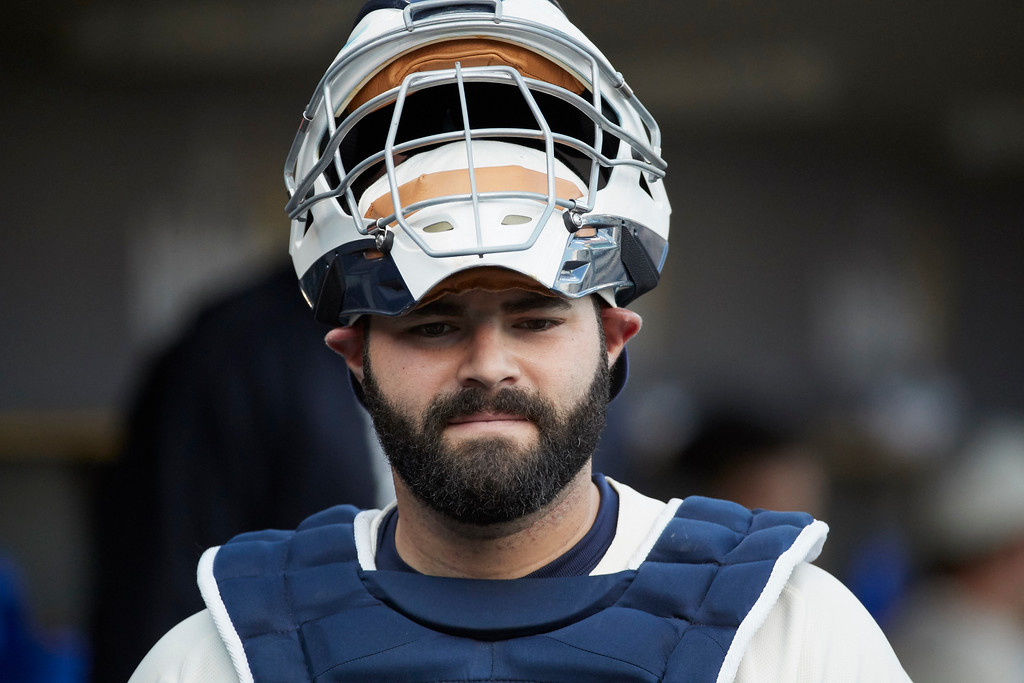 . Detroit Tigers catcher Alex Avila (31) in the dugout prior to the second baseball game of a doubleheader against the Cleveland Indians in Detroit, Saturday, July 1, 2017. (AP Photo/Rick Osentoski)
