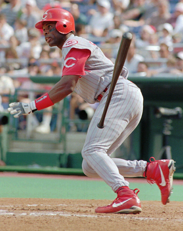. REGGIE SANDERS -- Cincinnati Reds Reggie Sanders tosses his bat as he watches a seventh-inning hit that drove in the winning run against Philadelphia Phillies pitcher Mike Grace on Sept. 13, 1997, in Philadelphia.   (AP Photo/Chris Gardner)