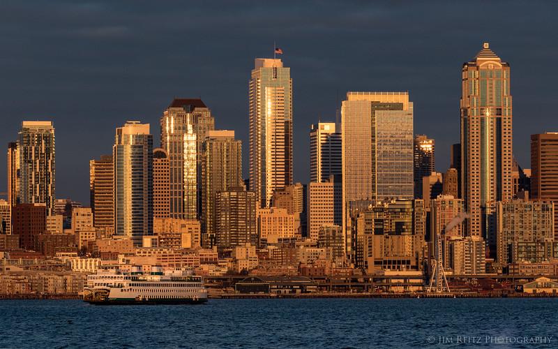Seattle waterfront, sunset light