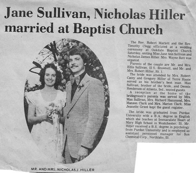 Newspaper Clipping - Jane Sullivan & Nickolas Hiller Married - May 1973.jpg