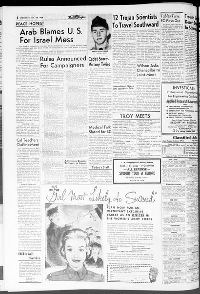 Daily Trojan, Vol. 47, No. 115, April 18, 1956