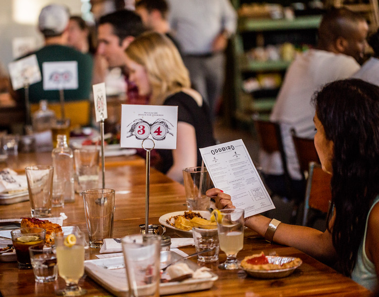 """On the second Wednesday of every month, Oddbird is found popping up at West Egg off Howell Mill, where the staff gets creative, adds pies to the menu, an """"Oddbird"""" special and always serves fried chicken, waffles and biscuits.  (Jenni Girtman / Atlanta Event Photography"""