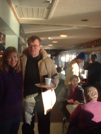 Garrison Keillor at White Bear Lake ice fishing trip