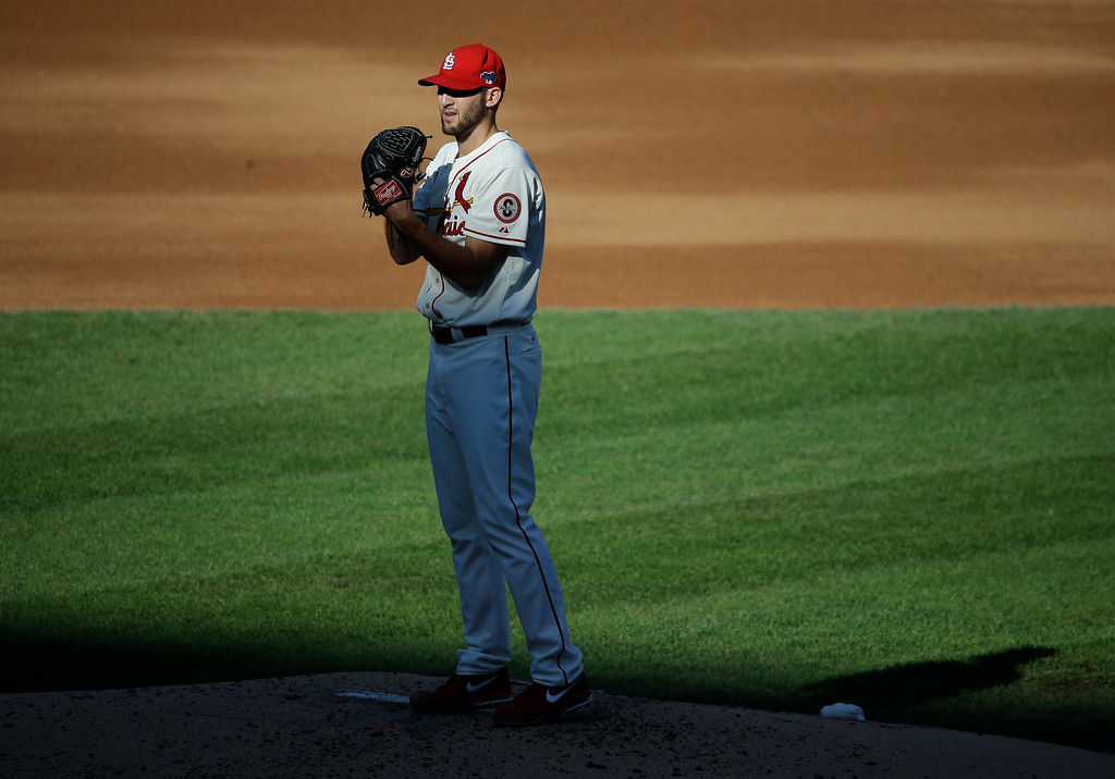 . St. Louis Cardinals starting pitcher Michael Wacha throws during the third inning of Game 2 of the National League baseball championship series against the Los Angeles Dodgers Saturday, Oct. 12, 2013, in St. Louis. (AP Photo/Charlie Neibergall)