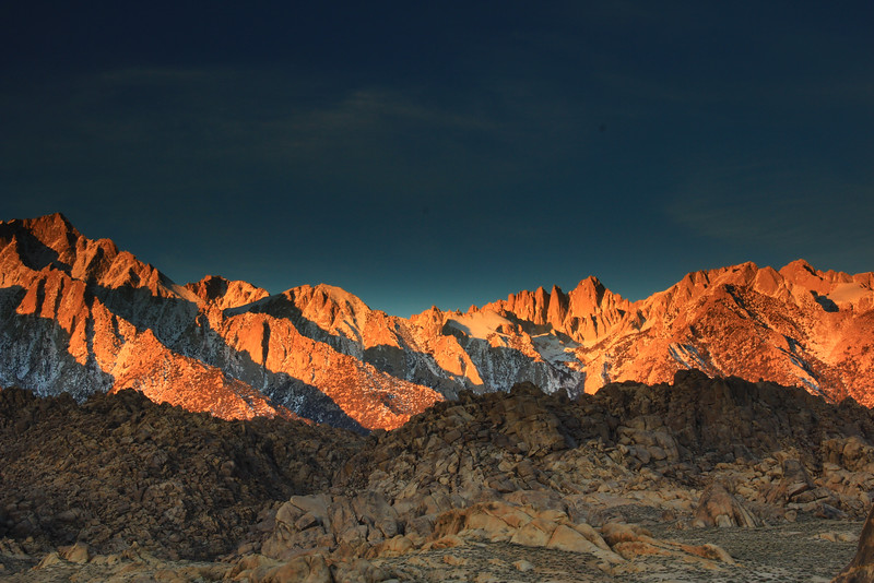 Dawn on the Sierra Nevada Mountains from Lone Pine California