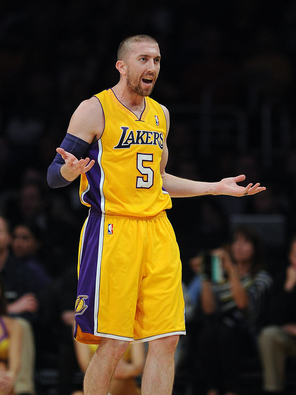 . The Lakers� Steve Blake #5 reacts during their game against the Thunder at the Staples Center in Los Angeles Thursday, February 13, 2014. (Photo by Hans Gutknecht/Los Angeles Daily News)