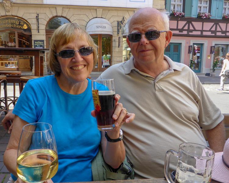 Enjoying some yummy smoky beer in Bamberg, Germany