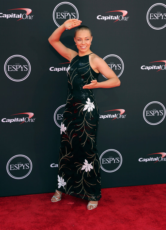 . MMA fighter Rose Namajunas arrives at the ESPY Awards at Microsoft Theater on Wednesday, July 18, 2018, in Los Angeles. (Photo by Willy Sanjuan/Invision/AP)