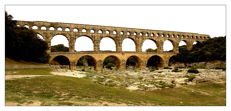 Pont du Gard - Roman aquaduct completed in about 50 AD.  This was a very gray, overcast day - hence the gray sky and flat colors - oh well.  You can get a sense of scale by looking at the kayaks in an upcoming picture.