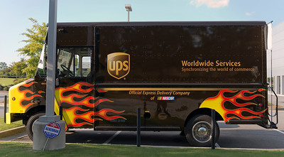 UPS Delivery Truck with Racing Flames