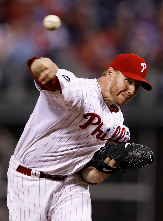 . Philadelphia Phillies starting pitcher Roy Halladay delivers to a Cincinnati Reds batter during the fifth inning of Game 1 of baseball\'s National League Division Series,  Wednesday, Oct. 6, 2010, in Philadelphia. Halladay pitched a no-hitter.  The Phillies defeated the Reds 4-0. (AP Photo/Matt Slocum)