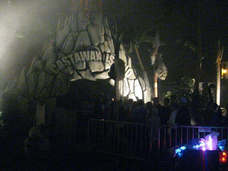 "Castaway Island ""Head Hunters of Cannibal Lake"" entrance at night."