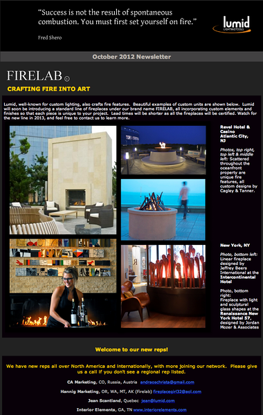 Lumid Firelab Newsletter - October 2012 issue.