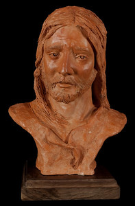 Christ - Agony by Shelley Kolman Smith terra cotta bust