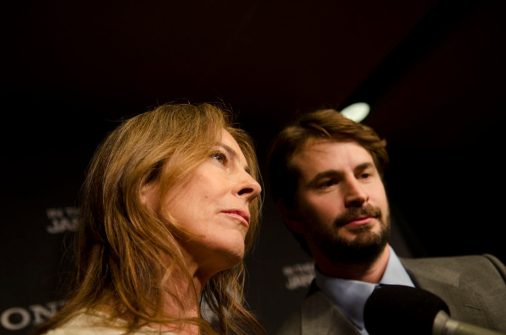 Description of . Kathryn Bigelow and Mark Boal speak with reporters at the Newseum during the