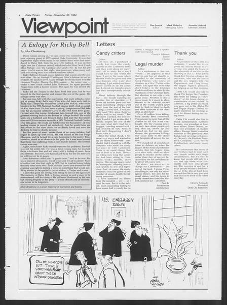 Daily Trojan, Vol. 97, No. 60, November 30, 1984