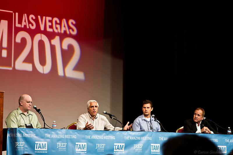 """Panel: """"Skepticism and the Future - Techno-optimism vs Reality?"""" Pictured: Stephen Macknik, Steven Novella, Michael Vassar & Michael Shermer."""