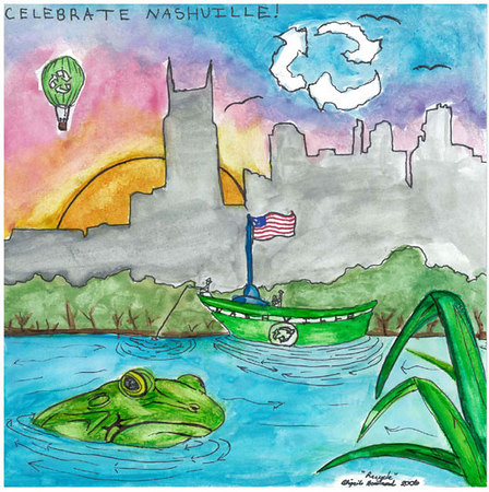 """Abigail's 10x10"""" poster which won 1st Prize.  As shown at:  http://www.nashville.gov/pw/art_contest_photos.htm  Elementary Student Artists Secure Funds for Schools  Beautification Artwork Will Appear on Waste Trucks  NASHVILLE –Three budding artists from Metro Schools have been named  grand prize winners of the Celebrate Nashville! Keep it Beautiful art contest.   Selected by a panel of Metro Council and Metro Arts Commission members,  each grand prize winner will receive funds for their school's art departments  and their art will be featured in a citywide environmental campaign.  The first place winner is Abigail Howland of Una Elementary School;  Cameron Webb of Granberry Elementary School, second place; and Morgan Hite  of Hermitage Elementary School, third place.   """"This is a great way to remind Nashville about the importance of recycling,""""  said Mayor Bill Purcell. """"Drawing on the creativity of our children, we can  learn how to keep our city and our neighborhoods green and clean.""""  The competition was sponsored by Metro Schools, Metro Public Works and Red  River Service Corporation, Nashville's largest waste collection service provider.   Entries were submitted by third and fourth grade students, with the grand prize  and top 72 entries selected for display on the sides of waste trucks as part of  a citywide beautification campaign over the next nine months.  The trucks, which will be on display during the downtown Nashville Gas Christmas  Parade on Dec. 1, will be seen by more than 9,000 people a day as they service  their routes.   Red River is a waste management company headquartered in Austin, Texas and is  the largest local collector of residential waste serving more than 86,000 Nashville  homes. Red River also conducts widespread commercial waste collection and recycling  operations."""