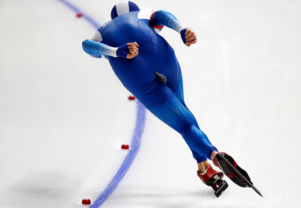 . South Korea\'s Lee Seung-hoon competes during the men\'s 10,000 meters speedskating race at the Gangneung Oval at the 2018 Winter Olympics in Gangneung, South Korea, Thursday, Feb. 15, 2018. (AP Photo/John Locher)