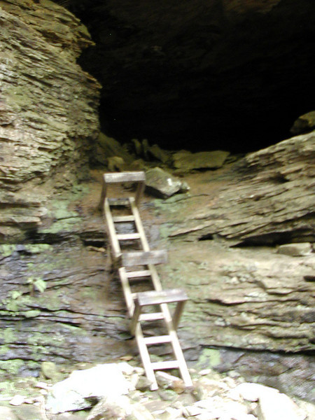 Ladder climbs up to a cave. If you go thru it reconnects with the trail!
