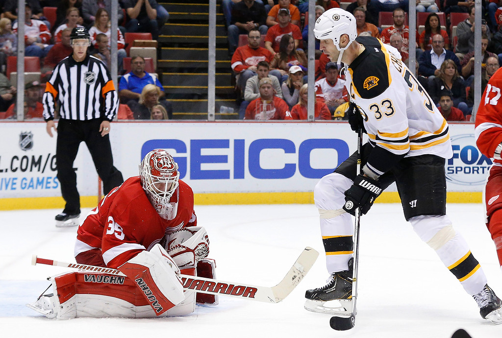 . Detroit Red Wings goalie Jimmy Howard (35) stops a shot by Boston Bruins defenseman Zdeno Chara (33 in the third period of an NHL hockey game in Detroit, Wednesday, Oct. 15, 2014. (AP Photo/Paul Sancya)