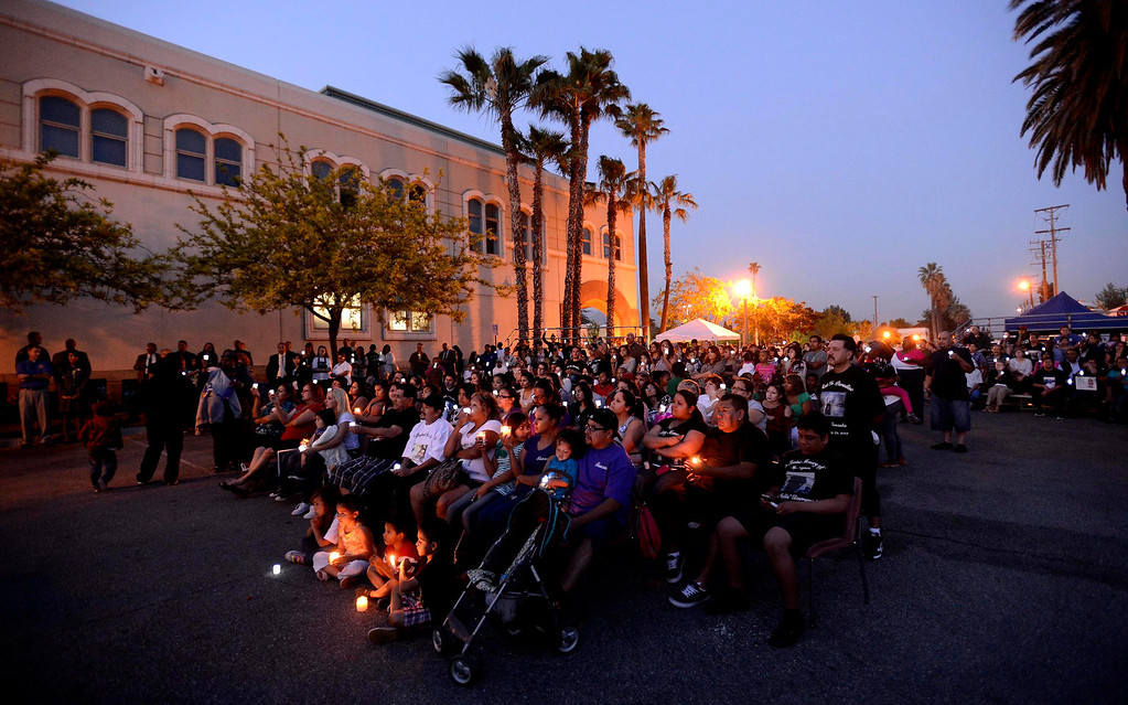. About 225 people attended the annual Victims Candlelight Vigil at the police station in San Bernardino April 23, 2013.   GABRIEL LUIS ACOSTA/STAFF PHOTOGRAPHER.
