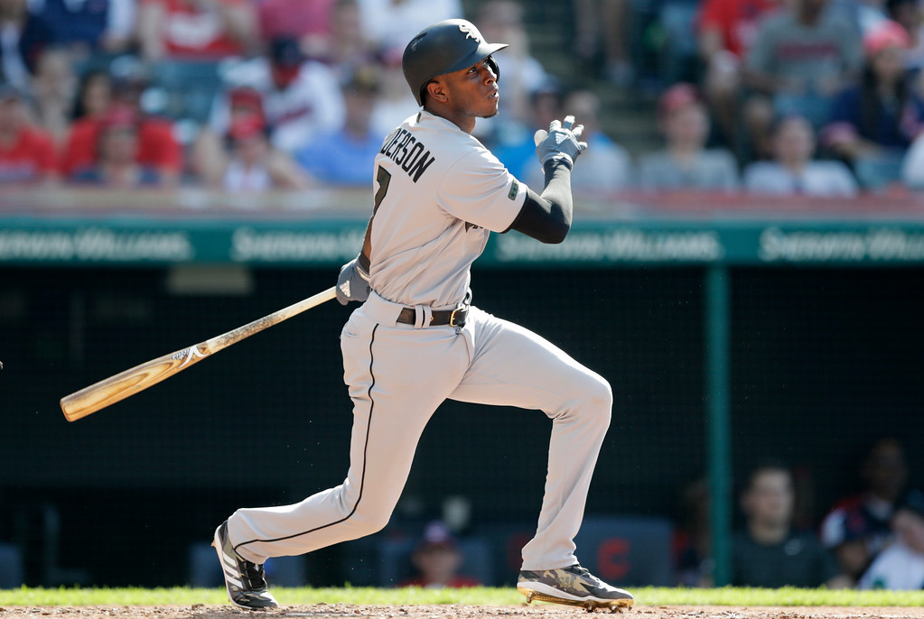 . Chicago White Sox\'s Tim Anderson watches his solo home run off Cleveland Indians starting pitcher Adam Plutko in the fourth inning of a baseball game, Monday, May 28, 2018, in Cleveland. (AP Photo/Tony Dejak)