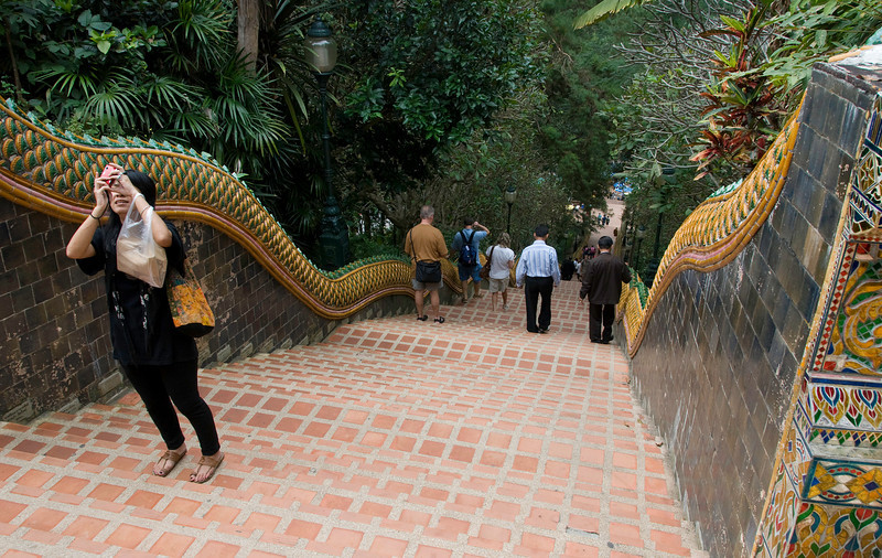 Serpent railing leading up to the temple