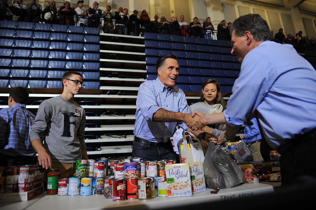 . US Republican presidential candidate Mitt Romney helps collect and pack donated goods as he attends a storm relief campaign event to help people who suffered from storm Sandy, in Kettering, Ohio, on October 30, 2012. The death toll from superstorm Sandy has risen to 32 in the mainland United States and Canada, and was expected to climb further as several people were still missing, officials said. Officials in the US states of Connecticut, New York, New Jersey, Maryland, Pennsylvania, West Virginia and North Carolina all reported deaths from the massive storm system, while Toronto police said a Canadian woman was killed by flying debris.    EMMANUEL DUNAND/AFP/Getty Images