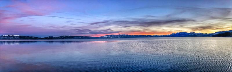 Sunset Panoramic view of Lake Tahoe from Tahoe City Beach