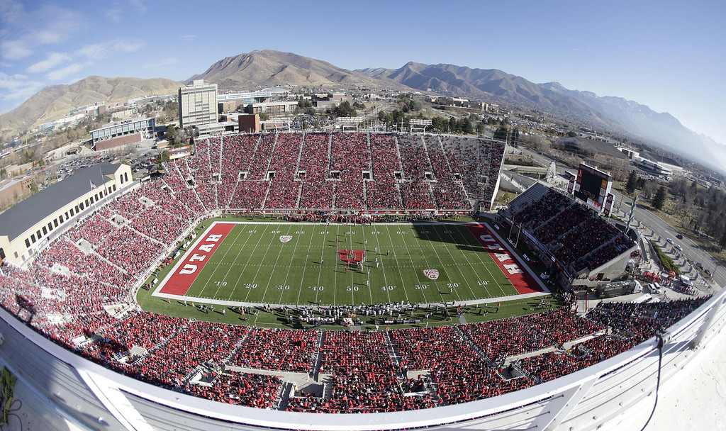 . Rice-Eccles Stadium is filled with fans for the first half of an NCAA college football game between Utah and Colorado Saturday, Nov. 30, 2013, in Salt Lake City. (AP Photo/Rick Bowmer)