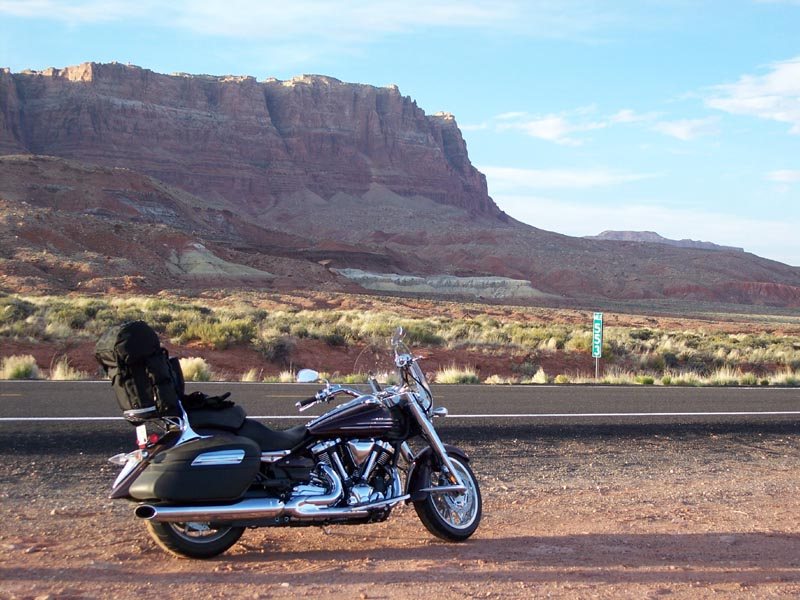 Along Alt 89 in Arizona. This is one of the most beautiful rides along redrock walls and cliffs. A portion of the Paria Canyon Vermilion Cliffs Wilderness is visible along the route.