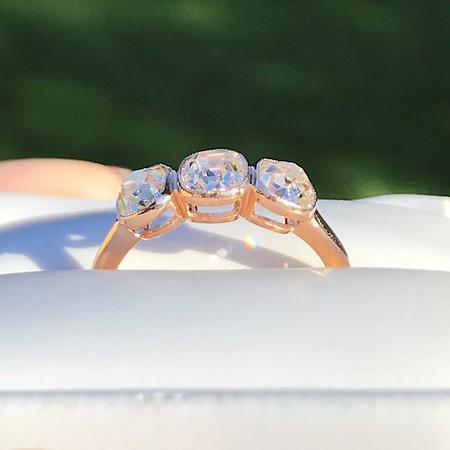 1.54ctw Old Mine Cut Diamond 3-Stone Ring