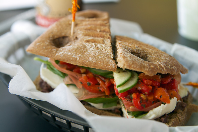 Mmmmmm sandwiches from a deli nearby the hotel.  This is mine, something with lots of veggies.