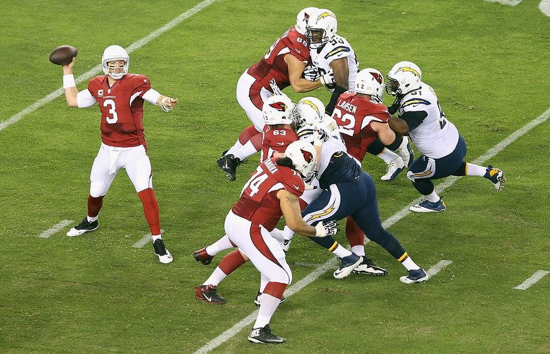 . Quarterback Carson Palmer #3 of the Arizona Cardinals throws a pass in the first quarter during the NFL game against the San Diego Chargers at the University of Phoenix Stadium on September 8, 2014 in Glendale, Arizona.  (Photo by Christian Petersen/Getty Images)