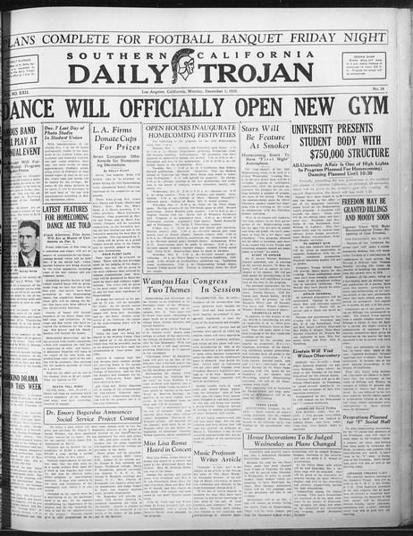 Daily Trojan, Vol. 22, No. 54, December 01, 1930