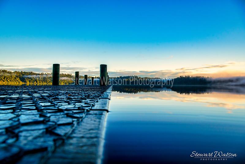 Lake Ianthe high water level at sunrise