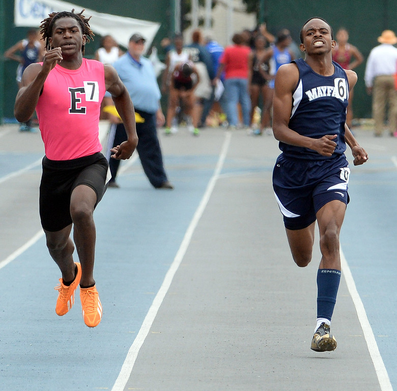 . Mayfair\'s Justin Parker, right, along with Eastside\'s Joshua Cummings competes in the division 2 400 meters race during the CIF Southern Section track and final Championships at Cerritos College in Norwalk, Calif., Saturday, May 24, 2014.   (Keith Birmingham/Pasadena Star-News)