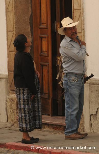 Guatemalan Man With a Gun - Antigua, Guatemala