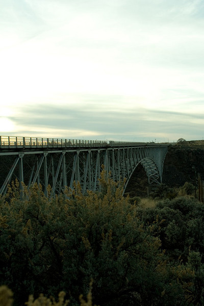 The Rio Grande gorge is half a mile wide here, and a quarter mile deep. Before the bridge went up, people had to drive a long ways around to get to Colorado. The structure of the bridge is impressive, and attractive - in an erector set kind of way - but the roadway is totally plain.