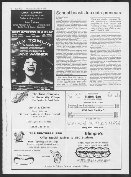 Daily Trojan, Vol. 102, No. 47, November 06, 1986