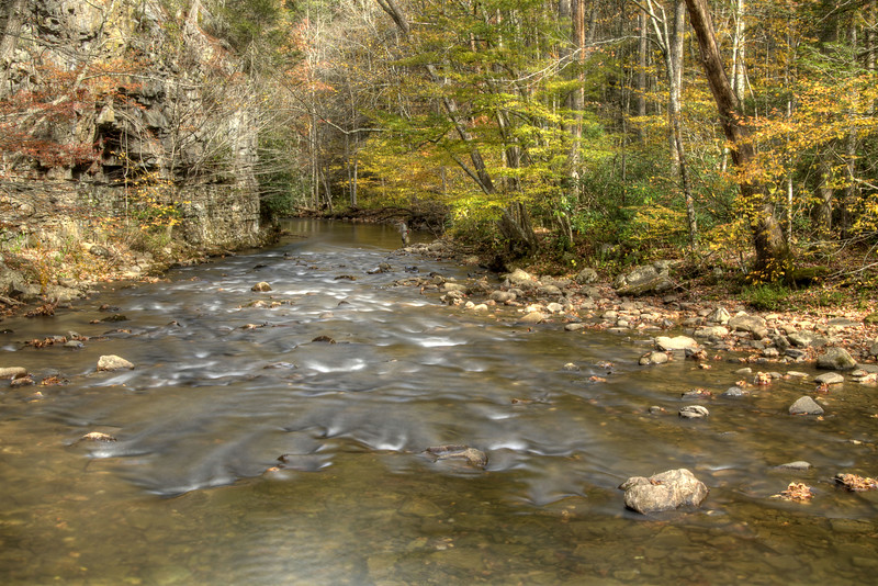 Calm waters with a beautiful view along Highway 133 in the Backbone Rock Recreation Area in Shady Valley, TN on Friday, October 24, 2014. Copyright 2014 Jason Barnette