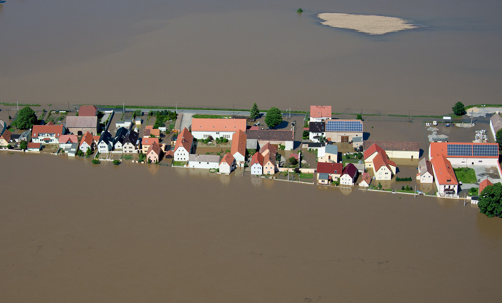 . Aerial view shows flooded streets of Goehlis, eastern Germany on June 5, 2013.  AFP PHOTO / JOHANNES  EISELE/AFP/Getty Images