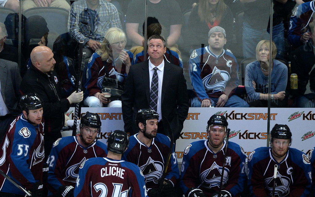 . DENVER, CO - APRIL 26: Patrick Roy of the Colorado Avalanche reacts to a go-ahead 3-2 goal by Kyle Brodziak (21) of the Minnesota Wild during the third period. The Colorado Avalanche hosted the Minnesota Wild during game five of the first round of the NHL Stanley Cup Playoffs at the Pepsi Center on Saturday, April 26, 2014. (Photo by Karl Gehring/The Denver Post)
