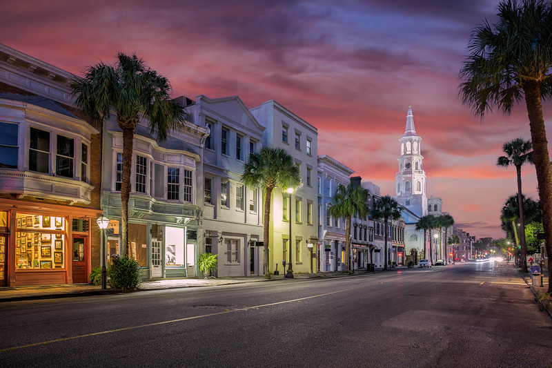Downtown Charleston South Carolina with sunset