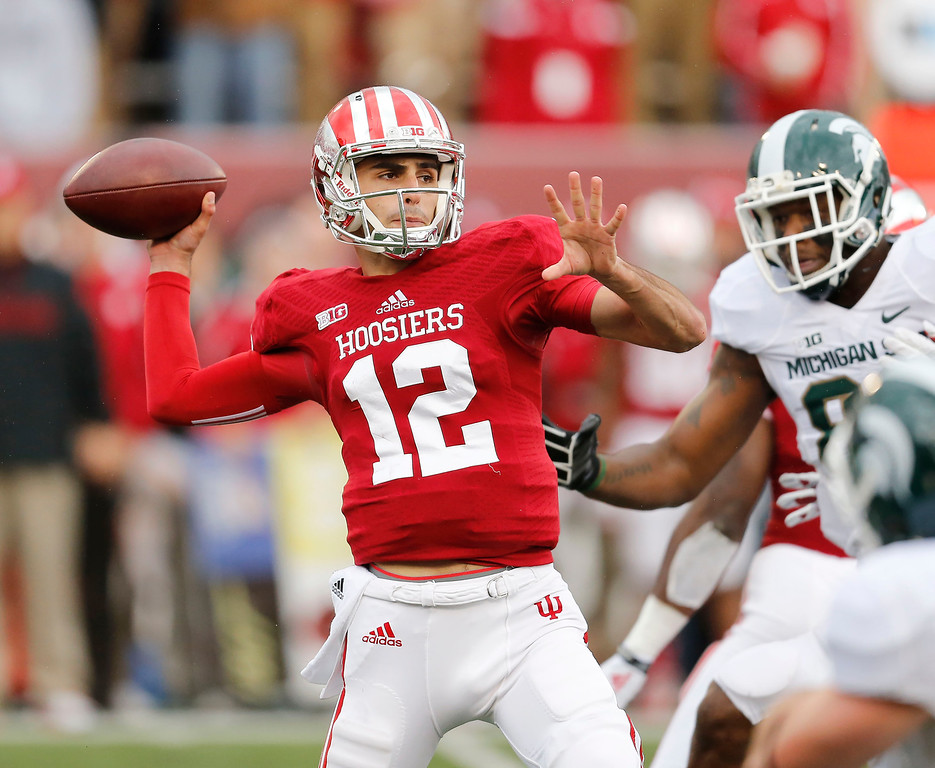 . Indiana quarterback Zander Diamont (12) throws down field during the first half of a NCAA college football game against Michigan State, Saturday, Oct. 18, 2014 in Bloomington, Ind. (AP Photo/Sam Riche)