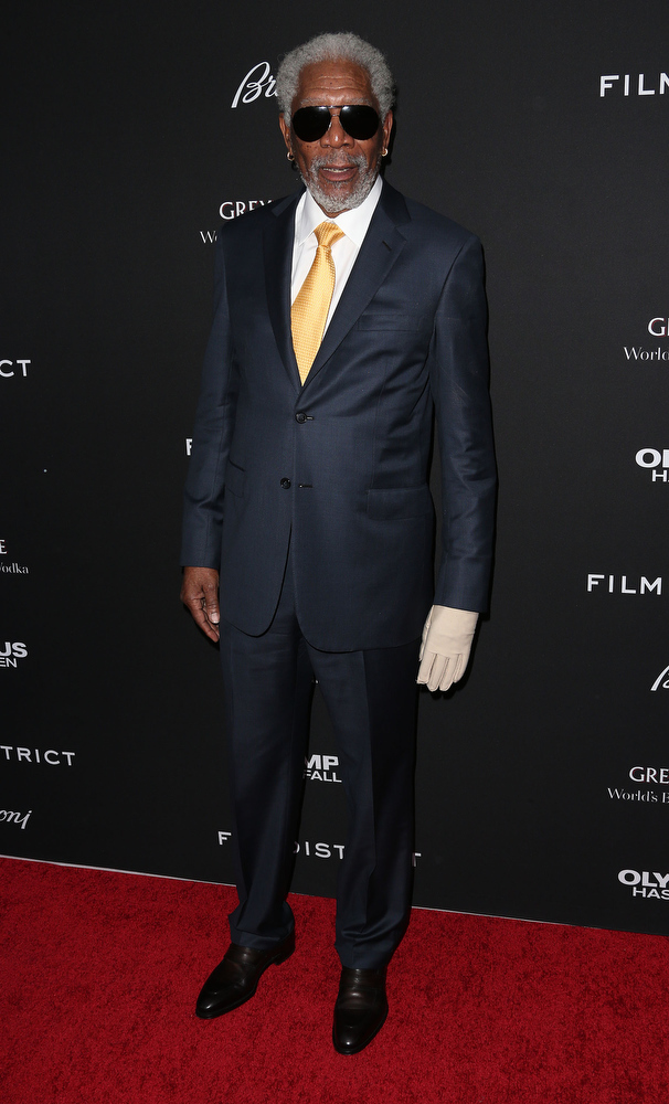 """. Actor Morgan Freeman attends the Premiere of FilmDistrict\'s \""""Olympus Has Fallen\"""" at the ArcLight Cinemas Cinerama Dome on March 18, 2013 in Hollywood, California.  (Photo by Frederick M. Brown/Getty Images)"""