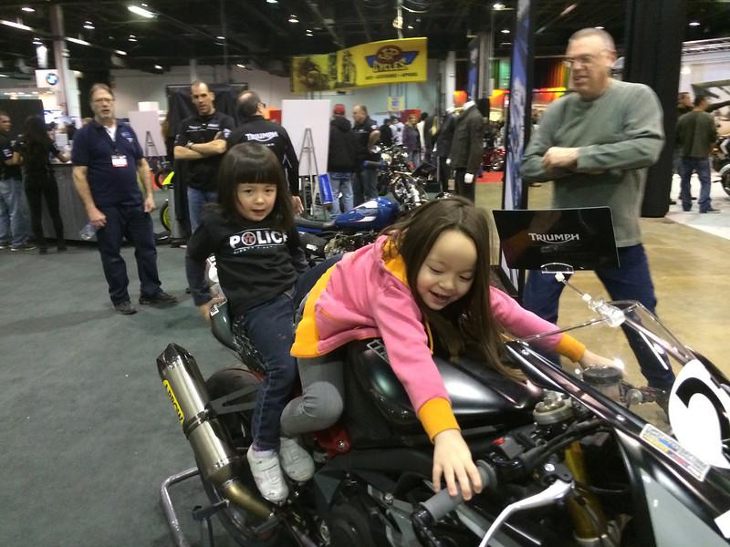 Chloe and Keira on Elena Myers bike http://elenamyers.com/