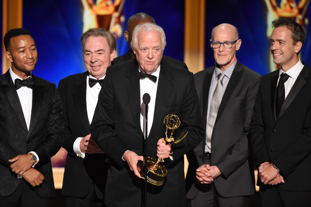 ". The team from ""Jesus Christ Superstar Live in Concert\"" accepts the award for outstanding variety special during night two of the Television Academy\'s 2018 Creative Arts Emmy Awards at the Microsoft Theater on Sunday, Sept. 9, 2018, in Los Angeles. Andrew Lloyd Webber, Tim Rice and John Legend achieved EGOT status after winning tonight\'s Emmy. (Photo by Phil McCarten/Invision/AP)"